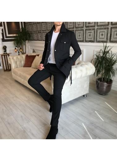 Terzi Adem 3534 İtalyan Stil Slim Fit Mevsimlik Erkek Trençkot Mont Siyah T4902 Siyah